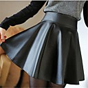 Womens Casual High Wasit Pleated Mini Skirt
