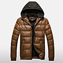 Mens Korean Style Slim Straight Hooded Coat