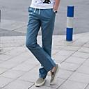 Mens Pure Color Casual Long Flax Pants
