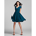 A-line/Princess V-neck Knee-length Georgette Bridesmaid Dress (sd-3117)