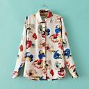 Womens Turn Down Collar Long Sleeve Floral Print Shirt