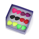 Heart-Shaped Fluorescent Hypoallergenic Earrings Mixed Color (6Pairs)