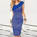 Womens Short Sleeve Sexy Bodycon Stripe Slim Dresses