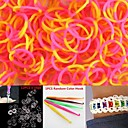600PCS YellowPink 4-Segment DIY Twistz Silicone Rubber Bands for Rainbow Loom Bracelets with HookS-clips