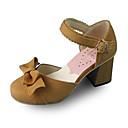 6,3 cm de cuero beige de tacón alto zapatos lolita dulce hechas a mano con arco