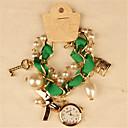 elegante de perlas de imitación de las mujeres de la amapola con el reloj de pulsera de arco