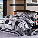Xinxingmeng Duvet Cover Sets Twill 100% Cotton Colorful Fashion 4 Piece Multi Color Plaid Pigment Print Full