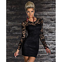 Beauty Long Sleeve Autumn Winter Dress Women Fully Lined Floral Lace Bodycon Party Dress  9044