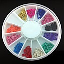 12 colores de la cadena de metal chapado en línea uñas aleación 3d decoración del arte
