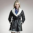 cuello de piel de cordero de lana abrigo de cuero de moda plana de Veri gude mujeres