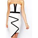 Womens White Bandeau Waterfall Evening Dress