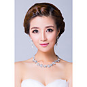 Silver Plated Floral Rinestones Wedding Jewelry Sets(Necklace,Earrings)