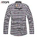ATOPI Mens fashion yarn dyed cotton plaid shirt