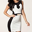 Womens   Black White Splicing Belted Bodycon dress