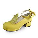 amarillo hecho a mano 4.5cm de cuero de la PU de los zapatos de tacón lolita dulce