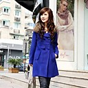 Womens Large Yard Long Section of Thick Woolen Fur Collar Long Sleeved Woolen Coat