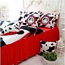 fadfay @ Kuhdruck Bettwäsche niedlichen Kinder Queen-Size-Cartoon Bettwäsche-Sets roten Rüschen in einem Beutel Queen-Bett