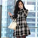 2014 nueva moda de manga larga de cuello redondo vestidos corporales combinados de las mujeres