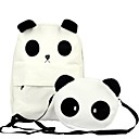 Womens Korean Style Panda Canvas Backpack With Small Panda Shoulder Bag