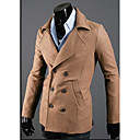 GMIG Mens Long Sleeve Slim Causual Fashion Double-Breasted Tweed Overcoats