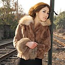 Womens Rex Rabbit Fur Mink Fur Collar Coat