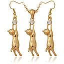 Cute 18K Gold Plated Platinum Cute Kitty Cat Pendant Earrings Rhinestone