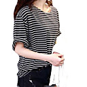 Womens Loose Neck Strip Half Sleeve T-Shirt