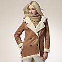 cuello de piel abrigo de cuero de moda sudadera con capucha plana de Veri gude mujeres