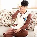 Mens Cute Cartoon Plum Blossom Bear Knitted Cotton Long Sleeve Pajamas