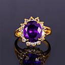 7 colores rubí anillo de zirconia cz piedra de lujo esmeralda zafiro oro 18k plateó el grueso regalo de la joyería para las mujeres