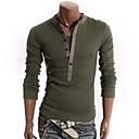 SENLEISMens V Neck Contrast Color Cotton Causel Long Sleeve Shirt