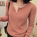 Womens Small V-neck Button Patch Bodycon Knitting Pullover