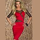 belleza 2014 nuevas mujeres inserción de malla sexy midi vestido largo lápiz bodycon otoño vestido ocasional 9007
