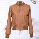 Womens Stand Collar Simple Long Sleeve Leather Coat (More Colors)