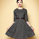 Women's Black And White Plaid Temperament 1/2 Length Sleeve Dress