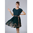 Aosishan Womens Round Neck Occidental Style Dress Dress
