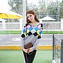Womens Sweet Round Collar Long Sleeve Knit Blouse