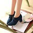 Womens Shoes Pointed Toe Chunky Heel Leather Ankle Boots with Lace-up More Colors available