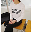 Womens Round Neck Long Sleeve Letter Cotton T-shirt