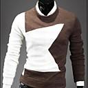 color de contraste de cuello redondo manga larga camisa de prendas de punto esencial de senleismen