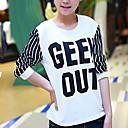 de las mujeres Lopoe manga larga de impresión carta cuello redondo delgado camisetas