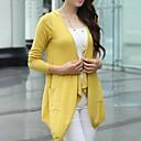 Womens Large Collar Solid Color Irregular Loose Knitting Cardigan
