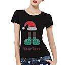 de algodón de manga corta de diamantes de imitación personalizado camisetas del sombrero de la Navidad y el patrón de la media de las mujeres