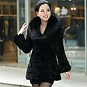 abrigo de piel de las mujeres zijindiao genuina visón natural con cuello de piel de zorro