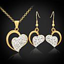 18k chapado en oro Rhinestone austríaco de la SWA corazones shamballa joyería de sistemas de regalo de la joyería para las mujeres