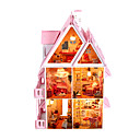 bricolaje sol en miniatura alice villa casa de muñecas con el juguete de los muebles y luces