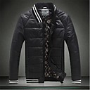 Mens Pure Color With Thick Cotton Padded Clothes Coat