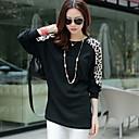 qamp;de las mujeres de la manga del batwing Y de impresión en forma de leopardo cuello redondo flojo camisetas