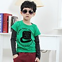 Boys Stripe Stitching Letters Cartoon Printing T-Shirt