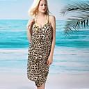 Womens Sexy Leopard Print Halter Wrap Beach Cover-Up Dress